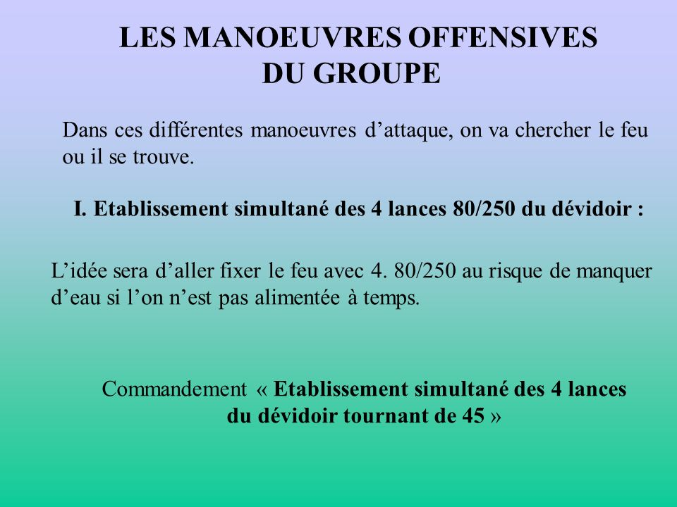 LES MANOEUVRES OFFENSIVES DU GROUPE