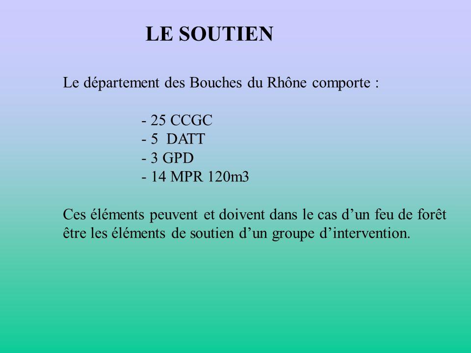 LE SOUTIEN Le département des Bouches du Rhône comporte : - 25 CCGC