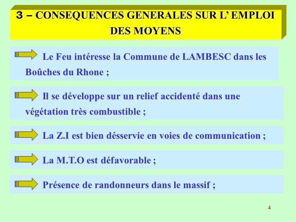3 – CONSEQUENCES GENERALES SUR L' EMPLOI DES MOYENS