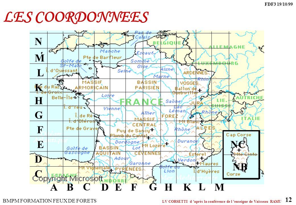 LES COORDONNEES A B C D E F G H K L M N NC NB