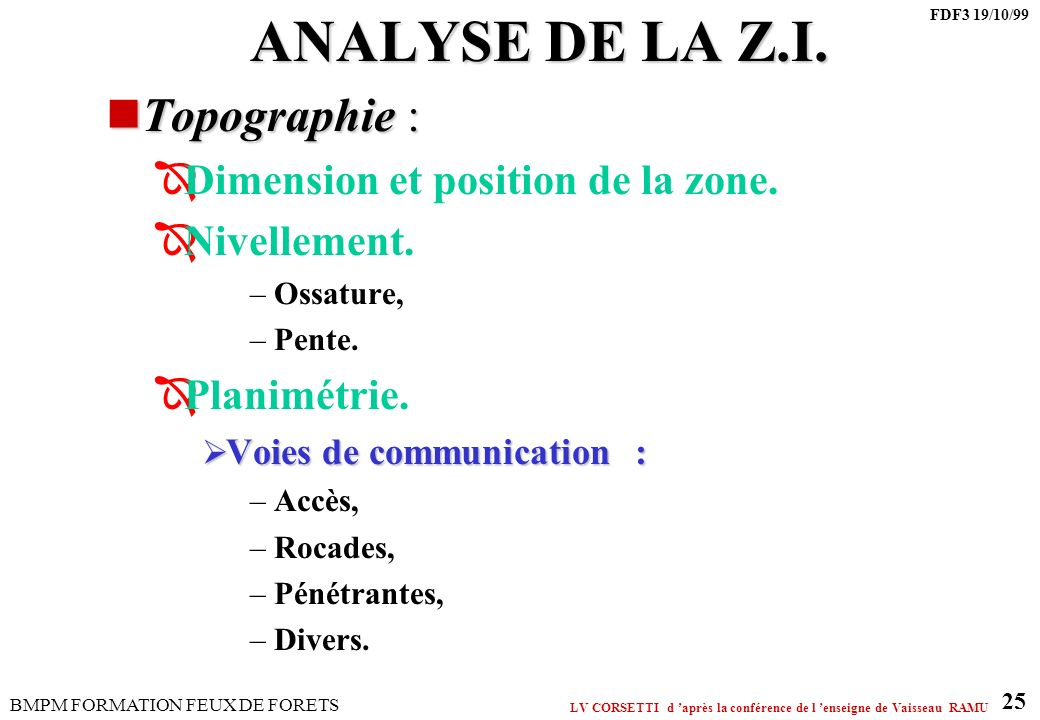 ANALYSE DE LA Z.I. Topographie : Dimension et position de la zone.