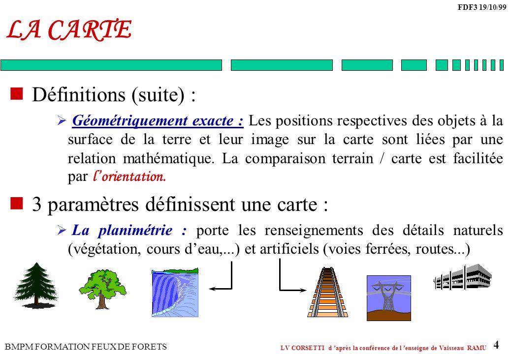 LA CARTE Définitions (suite) : 3 paramètres définissent une carte :