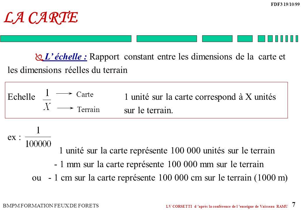 LA CARTE L' échelle : Rapport constant entre les dimensions de la carte et. les dimensions réelles du terrain.