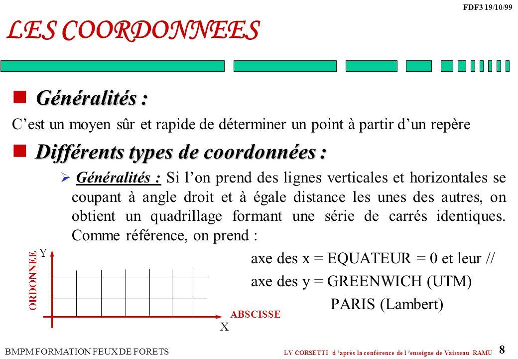 LES COORDONNEES Généralités : Différents types de coordonnées :