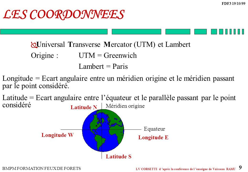 LES COORDONNEES Universal Transverse Mercator (UTM) et Lambert