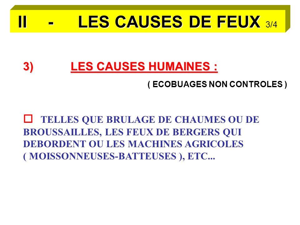 II - LES CAUSES DE FEUX 3/4 3) LES CAUSES HUMAINES :