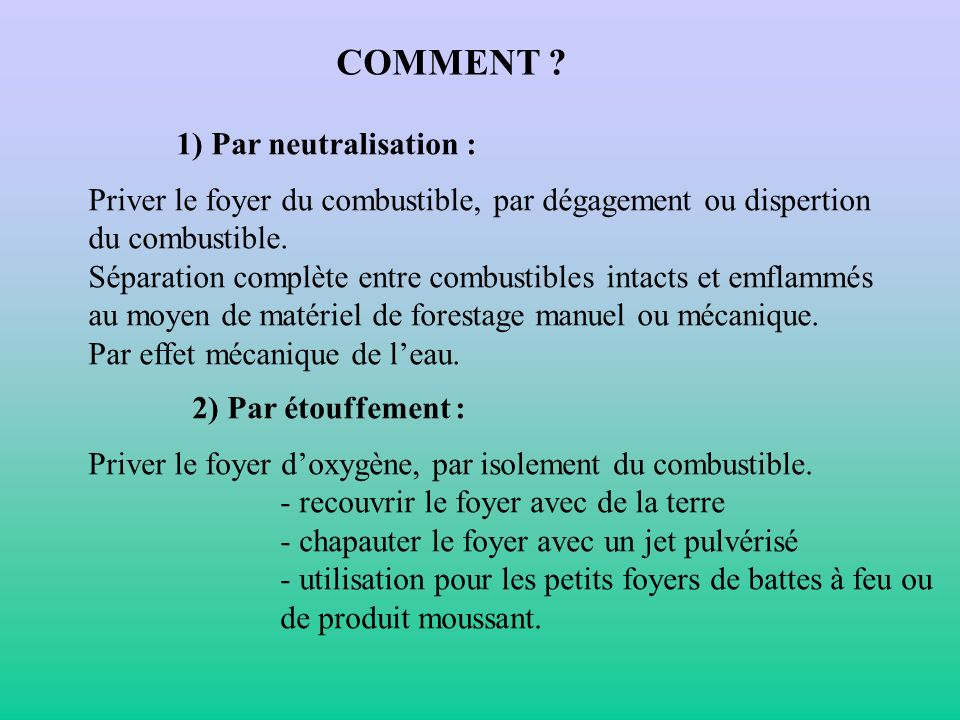 COMMENT 1) Par neutralisation :
