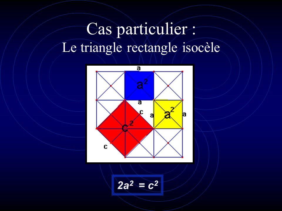 Cas particulier : Le triangle rectangle isocèle