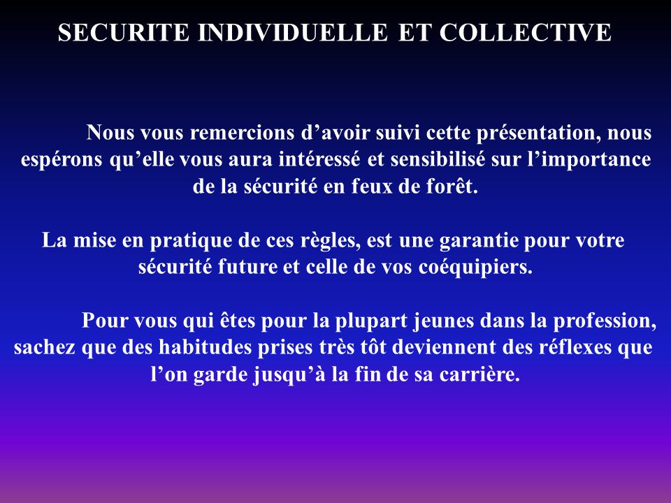 SECURITE INDIVIDUELLE ET COLLECTIVE