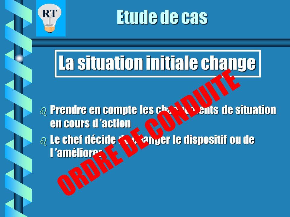ORDRE DE CONDUITE Etude de cas La situation initiale change