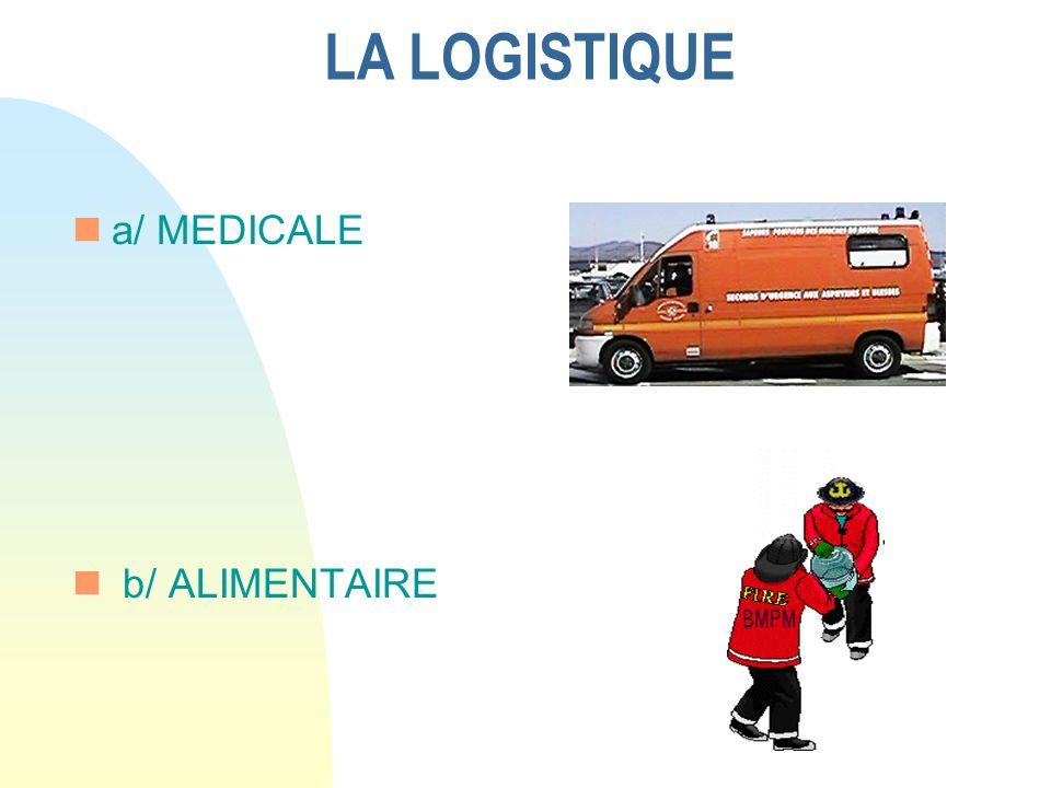 LA LOGISTIQUE a/ MEDICALE b/ ALIMENTAIRE