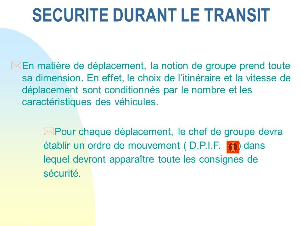 SECURITE DURANT LE TRANSIT