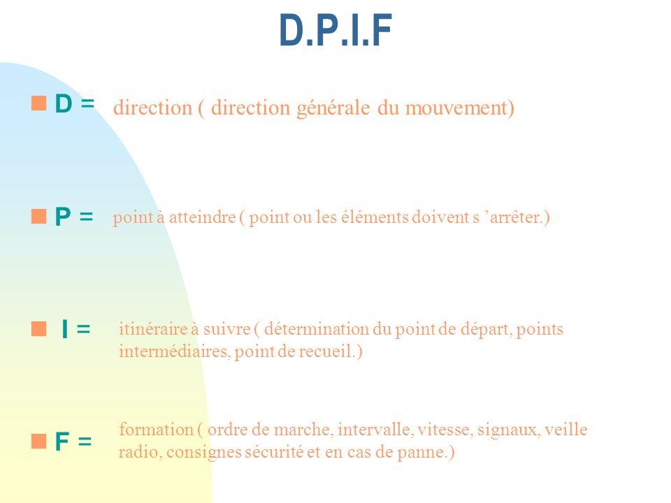 D.P.I.F D = P = I = F = direction ( direction générale du mouvement) .