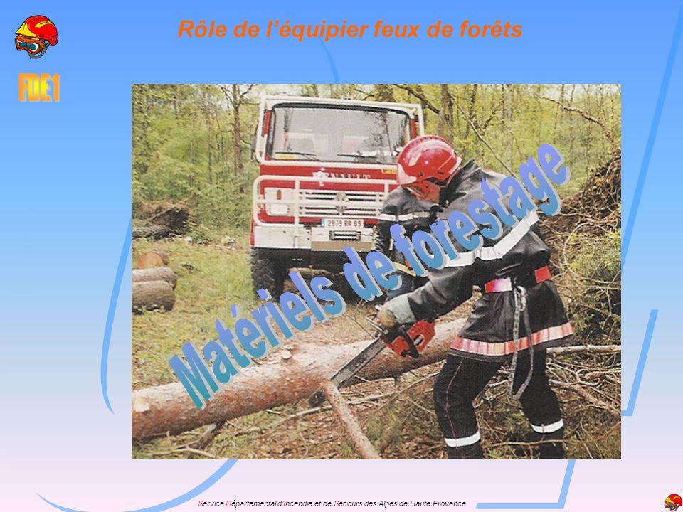 Rôle de l'équipier feux de forêts Matériels de forestage