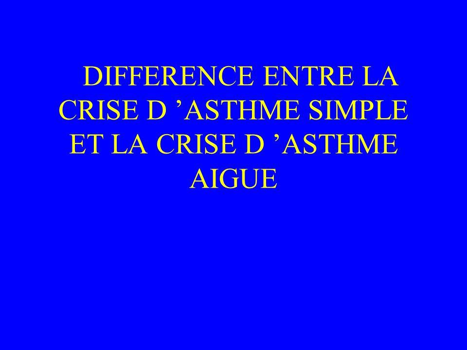 DIFFERENCE ENTRE LA CRISE D 'ASTHME SIMPLE ET LA CRISE D 'ASTHME AIGUE