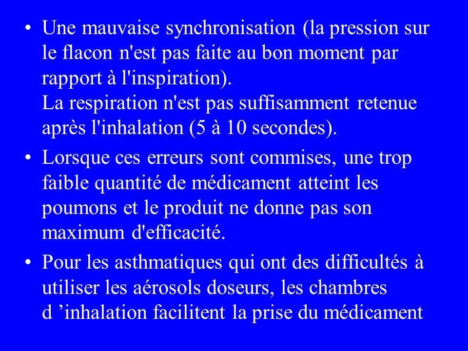 Une mauvaise synchronisation (la pression sur le flacon n est pas faite au bon moment par rapport à l inspiration). La respiration n est pas suffisamment retenue après l inhalation (5 à 10 secondes).
