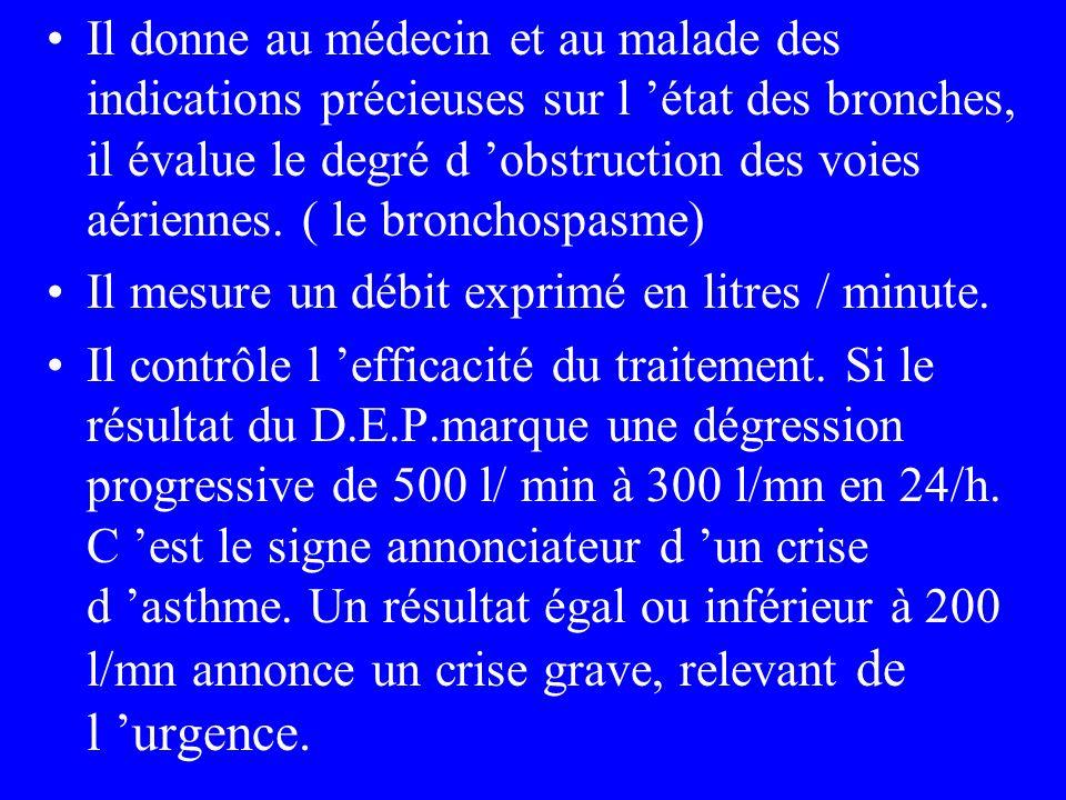 Il donne au médecin et au malade des indications précieuses sur l 'état des bronches, il évalue le degré d 'obstruction des voies aériennes. ( le bronchospasme)