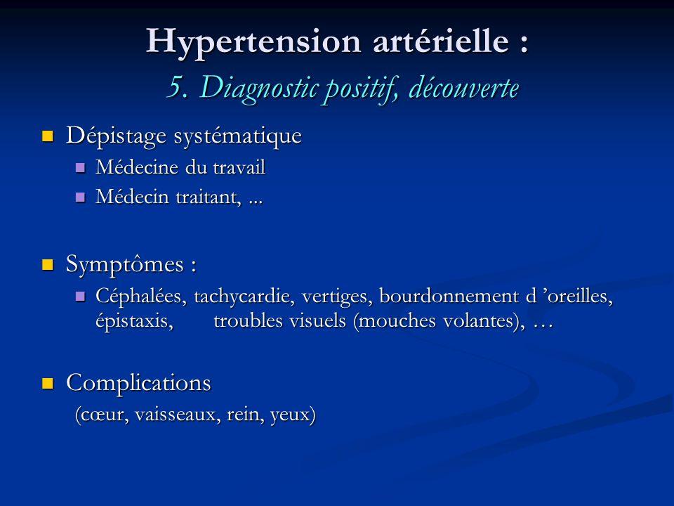 Hypertension artérielle : 5. Diagnostic positif, découverte