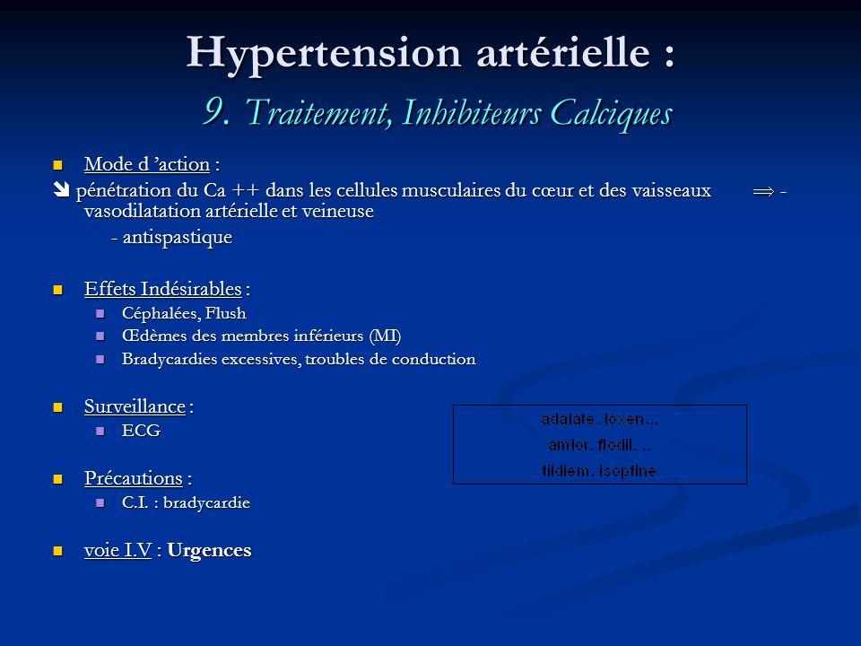 Hypertension artérielle : 9. Traitement, Inhibiteurs Calciques
