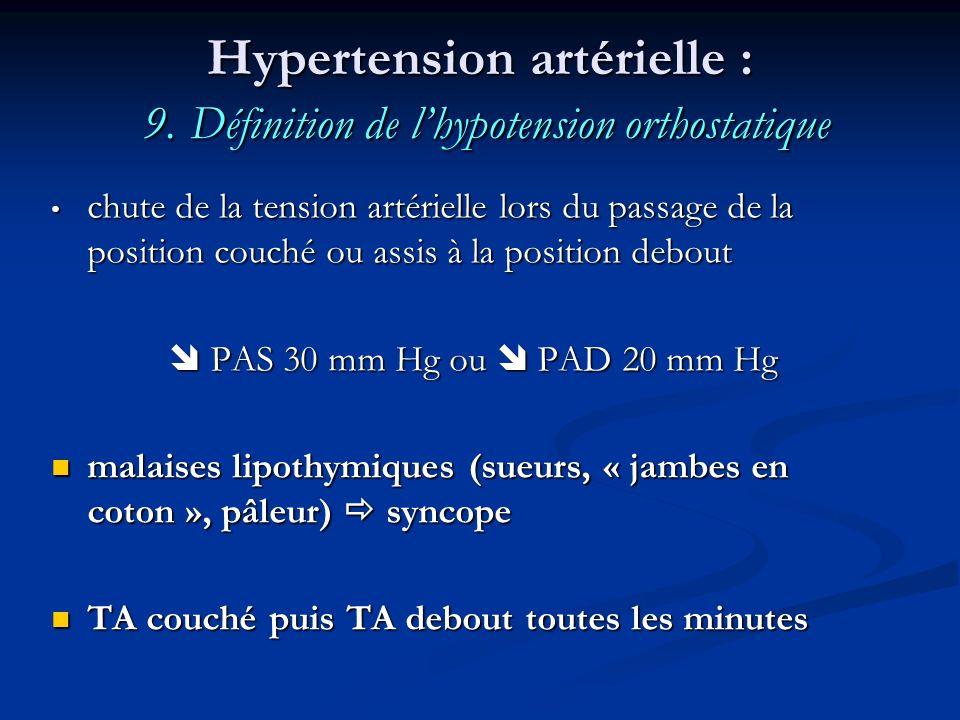 Hypertension artérielle : 9. Définition de l'hypotension orthostatique