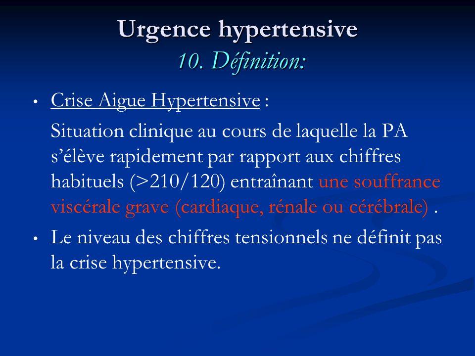 Urgence hypertensive 10. Définition: