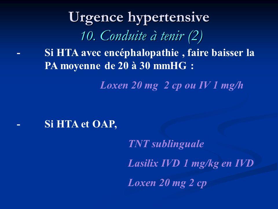 Urgence hypertensive 10. Conduite à tenir (2)