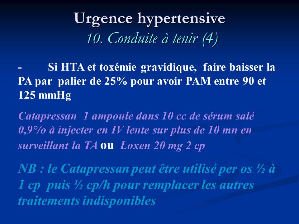 Urgence hypertensive 10. Conduite à tenir (4)