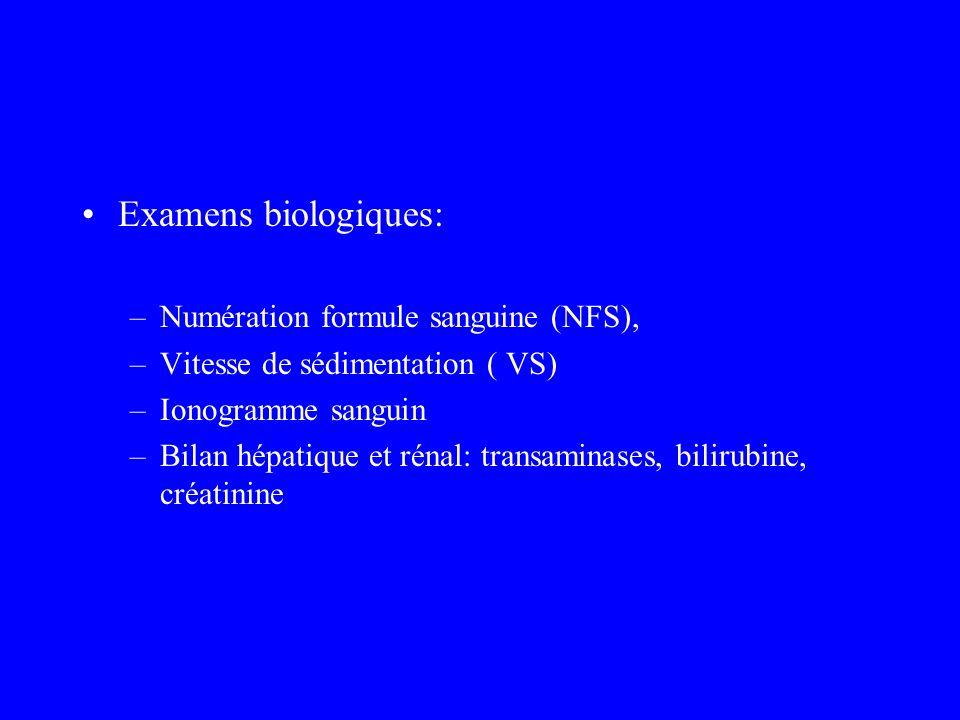 Examens biologiques: Numération formule sanguine (NFS),