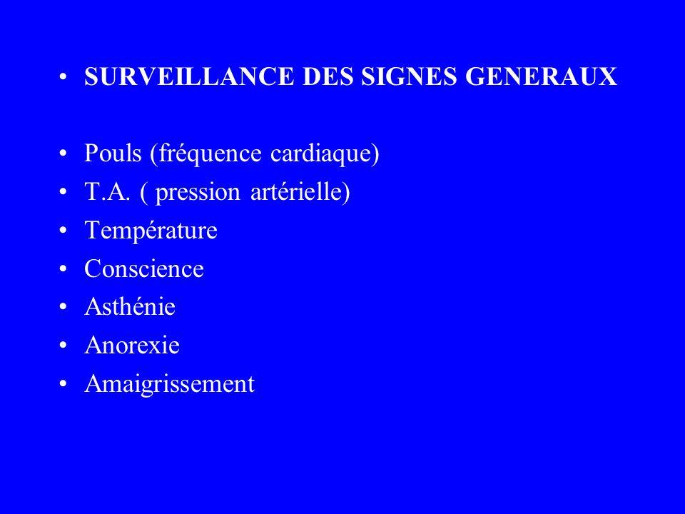 SURVEILLANCE DES SIGNES GENERAUX