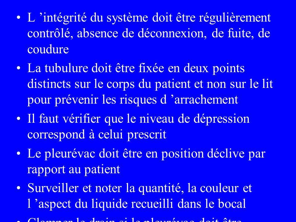 L 'intégrité du système doit être régulièrement contrôlé, absence de déconnexion, de fuite, de coudure