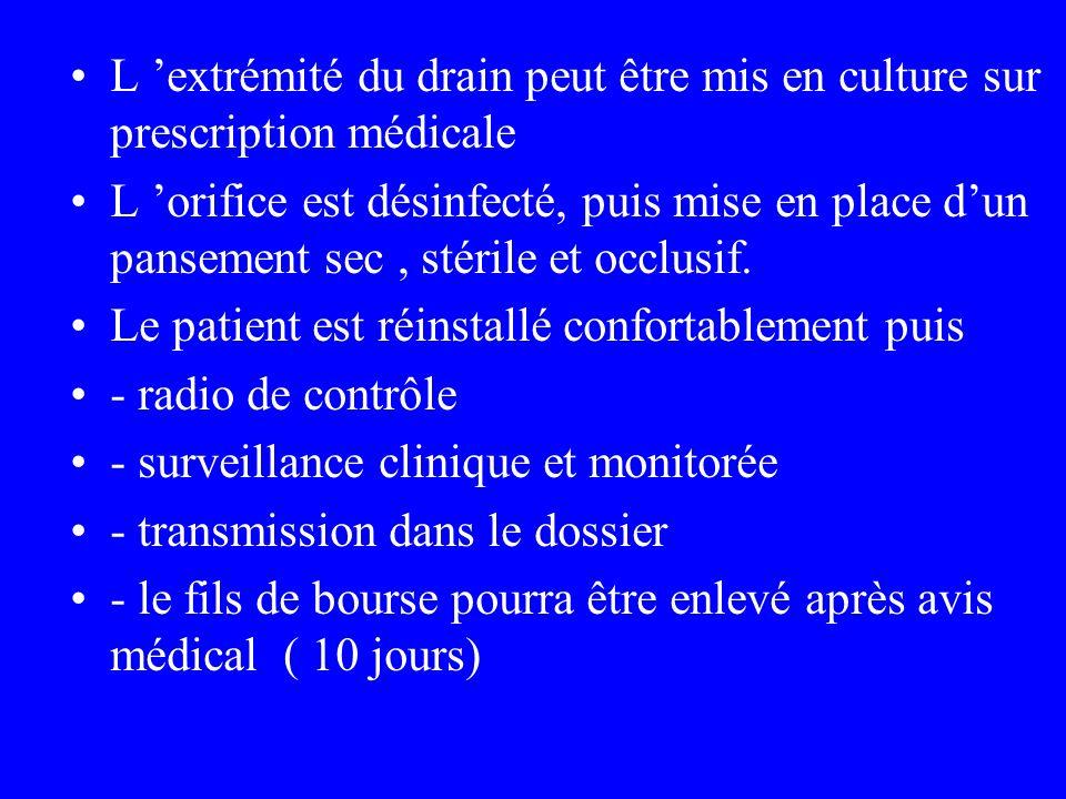 L 'extrémité du drain peut être mis en culture sur prescription médicale