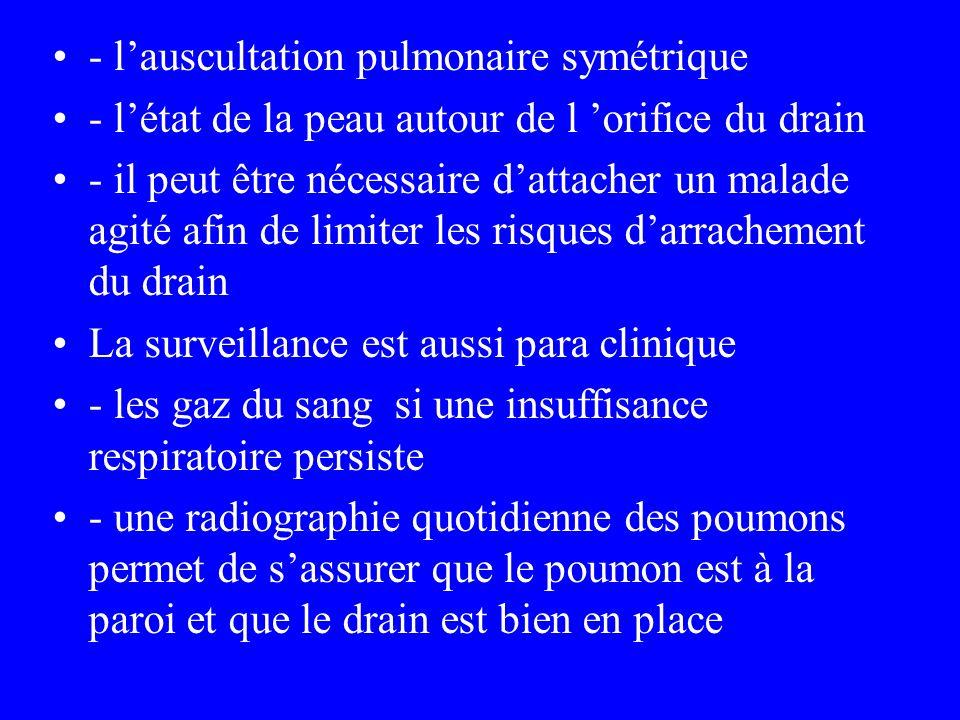 - l'auscultation pulmonaire symétrique