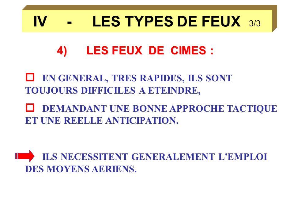 IV - LES TYPES DE FEUX 3/34) LES FEUX DE CIMES :  EN GENERAL, TRES RAPIDES, ILS SONT TOUJOURS DIFFICILES A ETEINDRE,