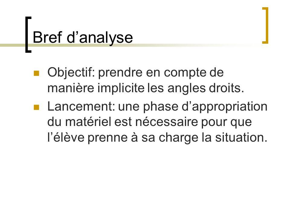 Bref d'analyse Objectif: prendre en compte de manière implicite les angles droits.