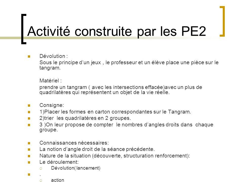 Activité construite par les PE2