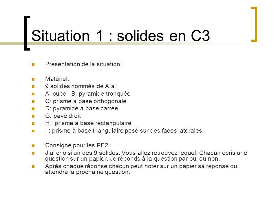 Situation 1 : solides en C3