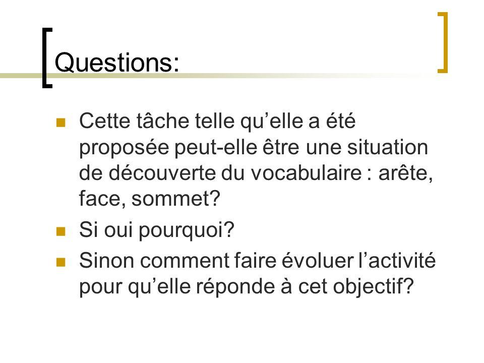 Questions: Cette tâche telle qu'elle a été proposée peut-elle être une situation de découverte du vocabulaire : arête, face, sommet