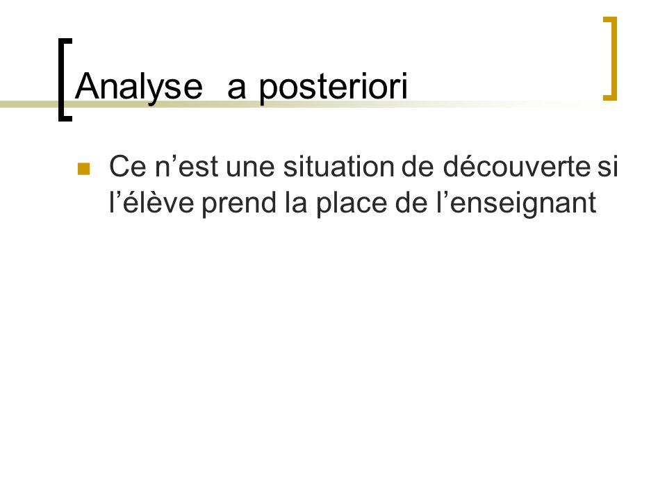 Analyse a posterioriCe n'est une situation de découverte si l'élève prend la place de l'enseignant.