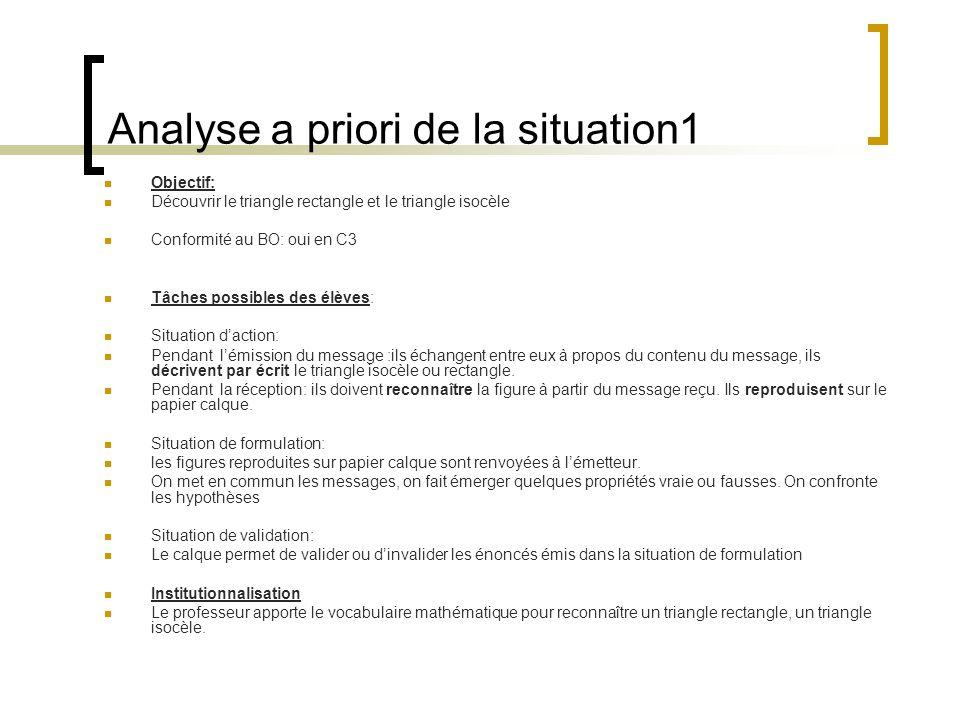 Analyse a priori de la situation1