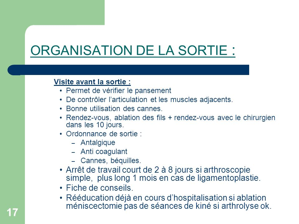 ORGANISATION DE LA SORTIE :
