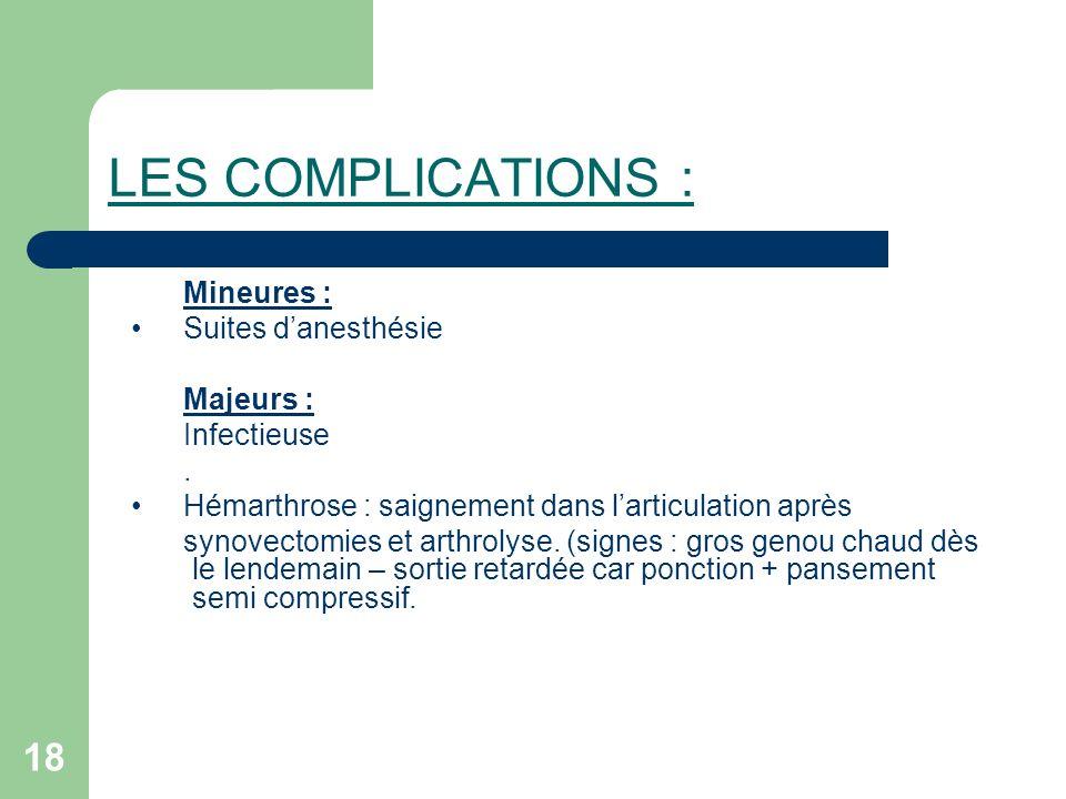 LES COMPLICATIONS : Mineures : Suites d'anesthésie Majeurs :