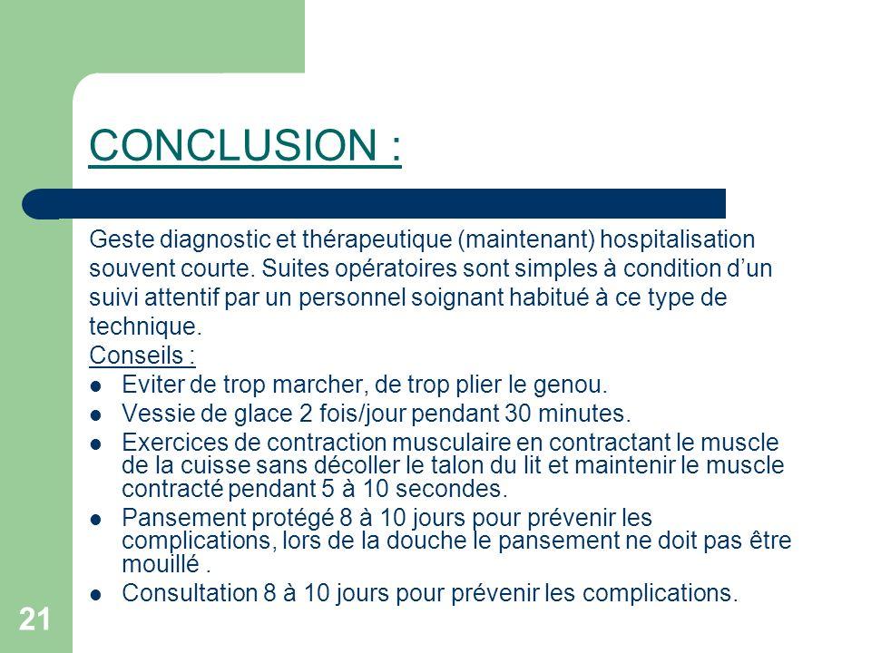 CONCLUSION : Geste diagnostic et thérapeutique (maintenant) hospitalisation. souvent courte. Suites opératoires sont simples à condition d'un.