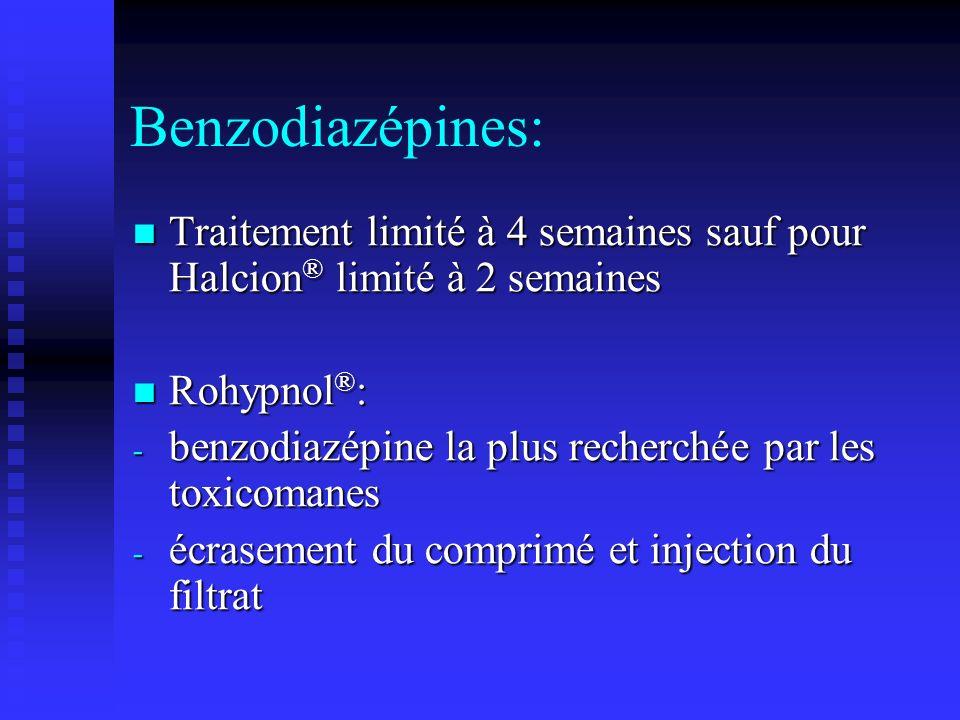 Benzodiazépines: Traitement limité à 4 semaines sauf pour Halcion® limité à 2 semaines. Rohypnol®:
