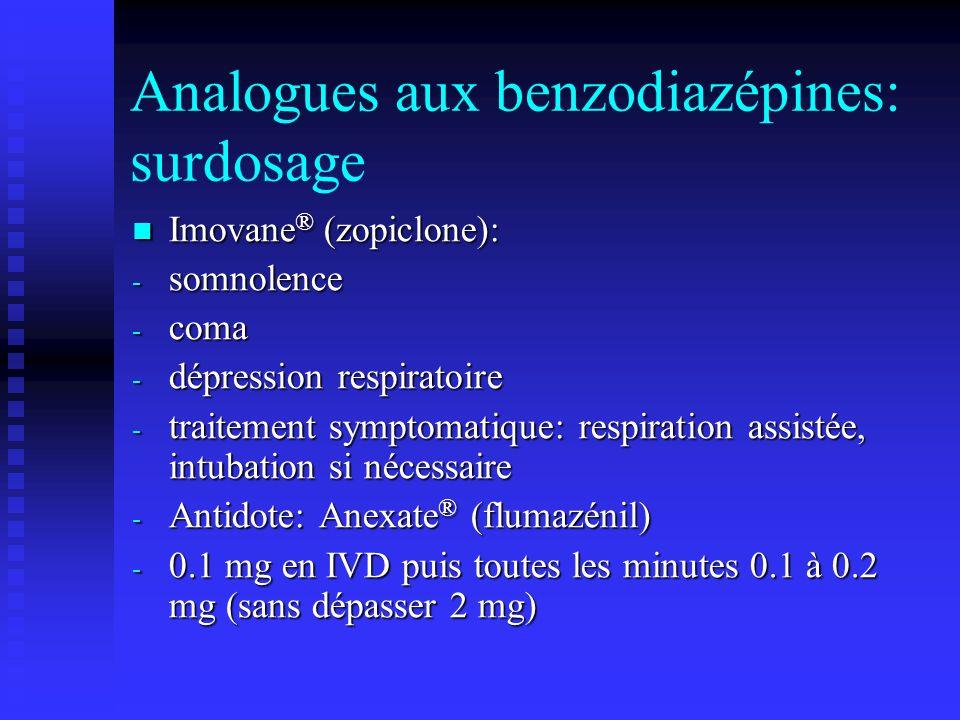 Analogues aux benzodiazépines: surdosage