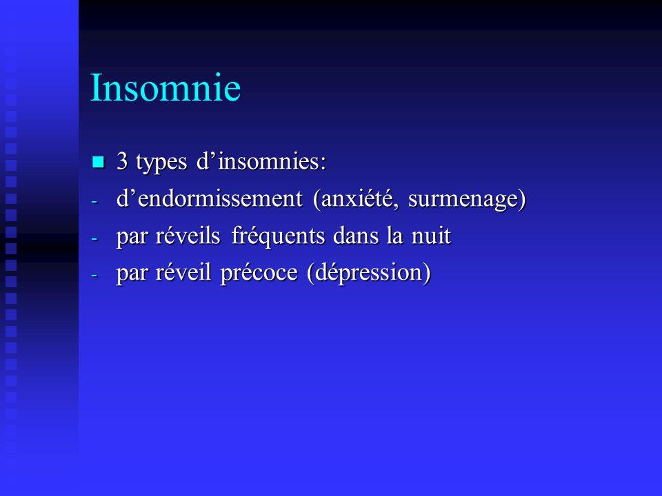 Insomnie 3 types d'insomnies: d'endormissement (anxiété, surmenage)