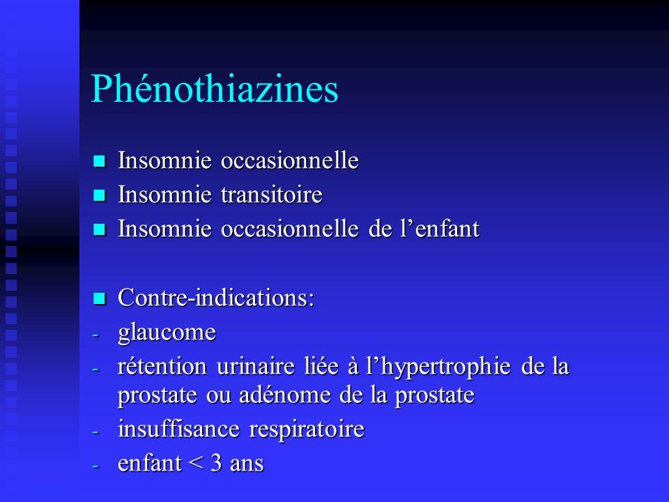 Phénothiazines Insomnie occasionnelle Insomnie transitoire