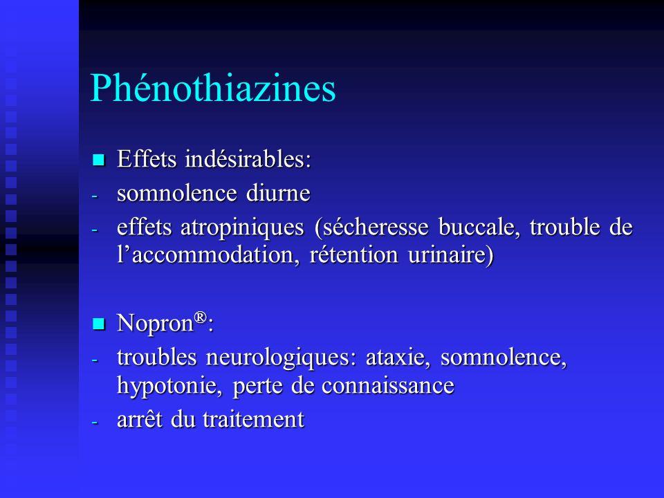 Phénothiazines Effets indésirables: somnolence diurne