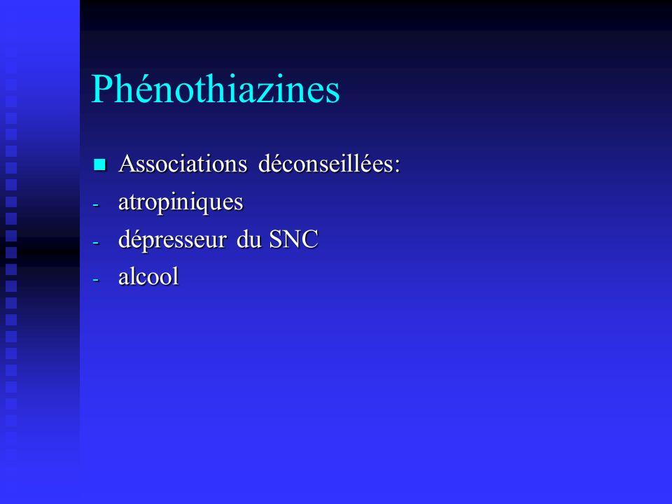 Phénothiazines Associations déconseillées: atropiniques