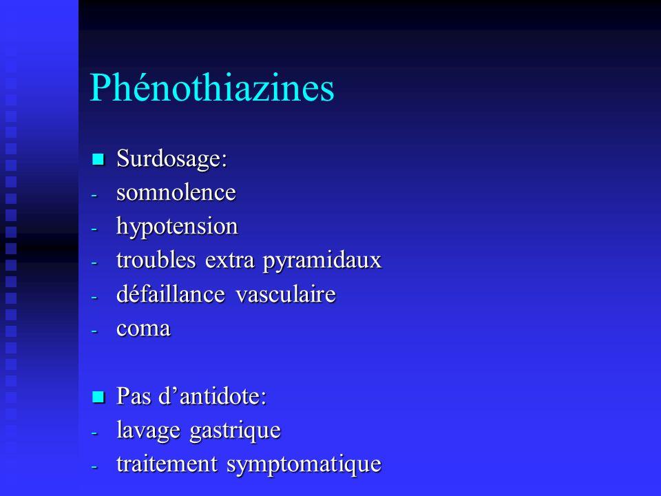 Phénothiazines Surdosage: somnolence hypotension