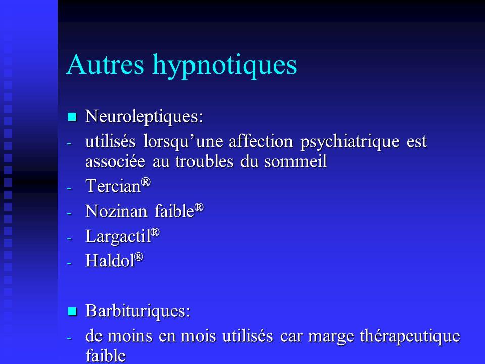 Autres hypnotiques Neuroleptiques: